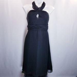 WHBM Halter Neck Cut Out Chiffon Mini Dress 8
